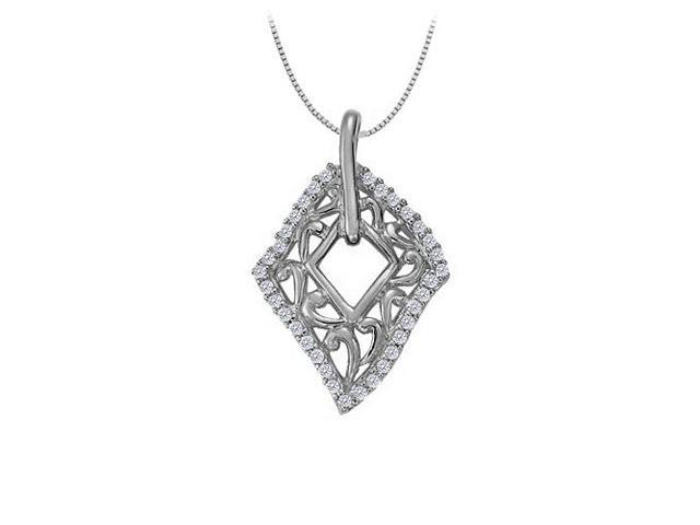 Cubic Zirconia Fashion Pendant in 14K White Gold 0.25 CT TGWJewelry Gift for Women