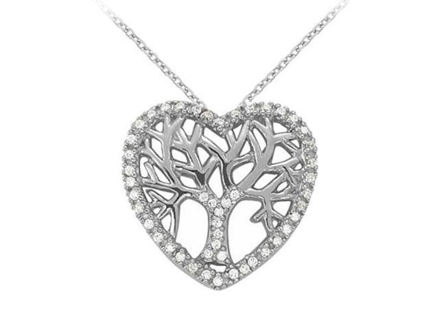 Cubic Zirconia Heart Pendant in 14K White Gold 0.05 CT TGWPerfect Jewelry Gift for Women