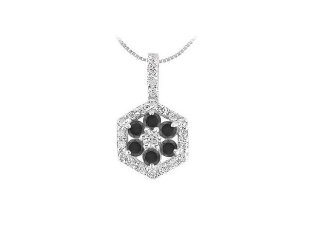 Black and White Diamond Pendant  14K White Gold - 1.50 CT Diamonds