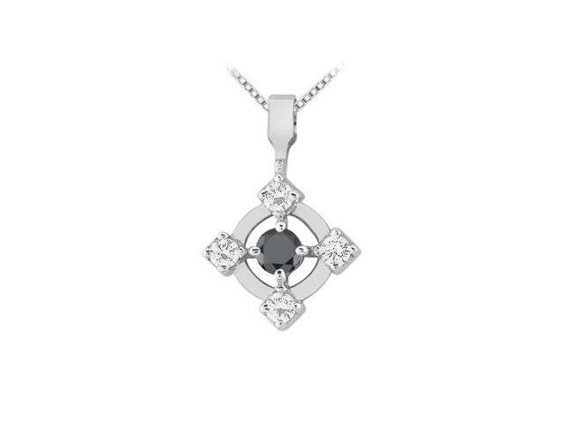 Black and White Diamond Circle Pendant  14K White Gold - 0.50 CT Diamonds