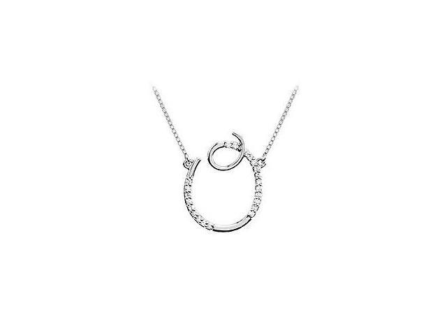 Cubic Zirconia Letter O Script Initial Pendant  .925 Sterling Silver - 0.10 CT TGW