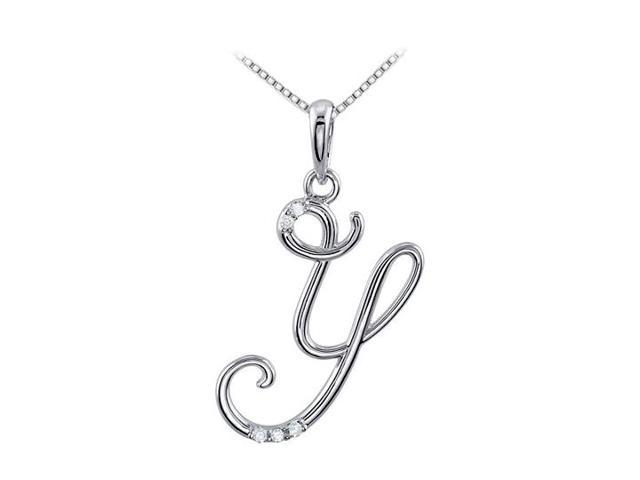 Script Y Initial Pendant with Triple AAA Quality CZ on Rhodium 925 Sterling Silver 0.05 Carat