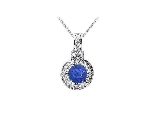 Sapphire and Diamond Pendant  14K White Gold - 1.50 CT TGW