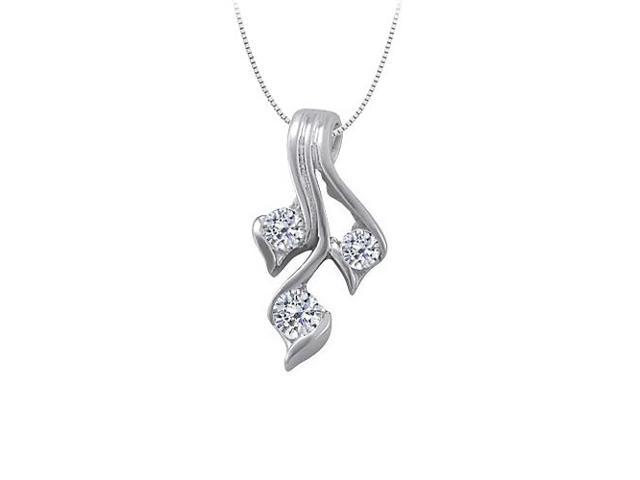 Three Stone Cubic Zirconia Pendant in 14K White Gold 0.50 CT TGWPerfect Jewelry for Women