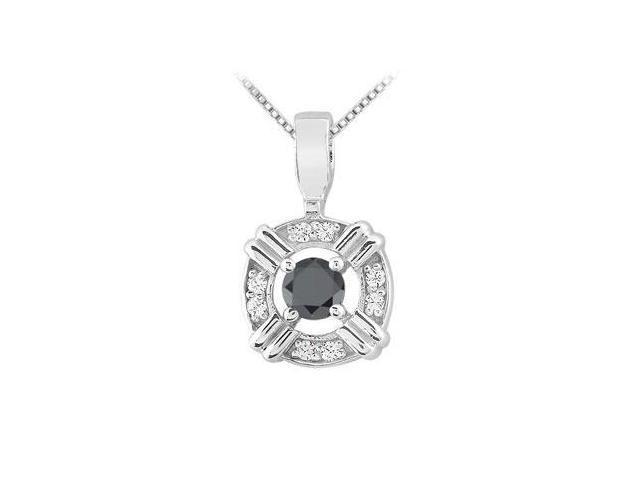 Black and White Diamond Pendant  14K White Gold - 0.25 CT Diamonds