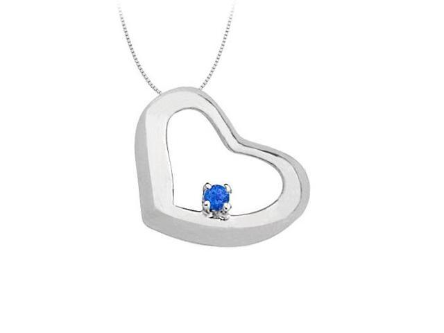 September Birthstone  Created Sapphire Heart Pendant in Sterling Silver 0.15 CT TGW