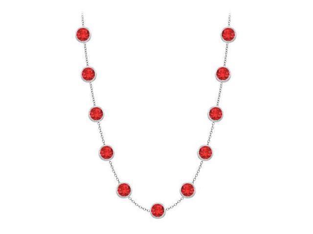 Diamonds By The Yard GF Bangkok Ruby Necklace on 14K White Gold Bezel Set 2.00 ct.tw