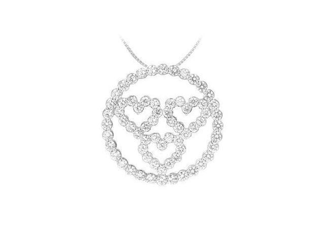 Diamond Circle and Heart Pendant  14K White Gold - 1.25 CT Diamonds