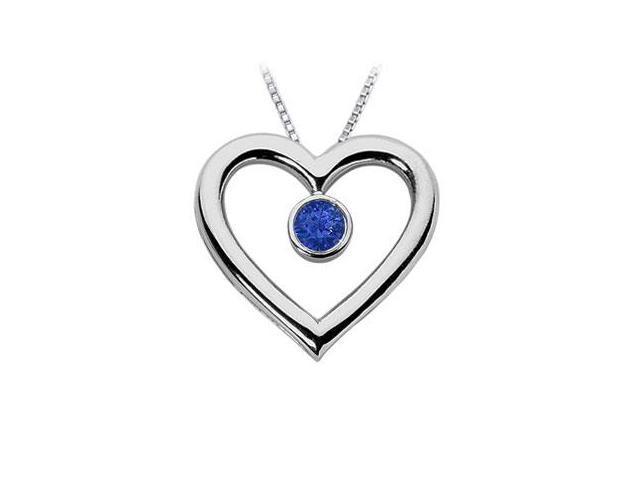 Sapphire Heart Pendant  14K White Gold - 0.75 CT TGW