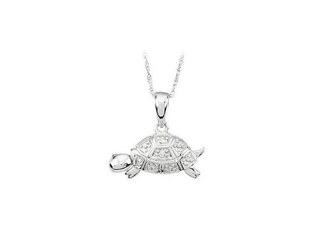 Turtle Waggles Necklace in Rhodium Plating 925 Sterling Silver 9.98X15.04 MM