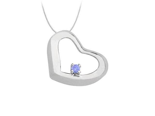 December Birthstone  Created Tanzanite Heart Pendant in Sterling Silver 0.15 CT TGW