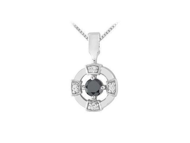 Black and White Diamond Circle Pendant  14K White Gold - 0.25 CT Diamonds