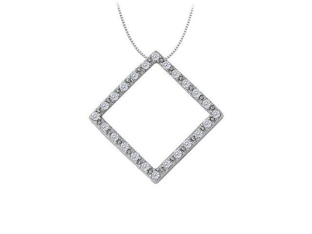 Cubic Zirconia Square Shaped Pendant in 14K White Gold 0.25 CT TGWPerfect Jewelry Gift