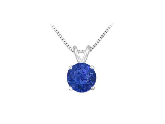 14K White Gold Prong Set Natural Sapphire Solitaire Pendant 1.00 CT TGW