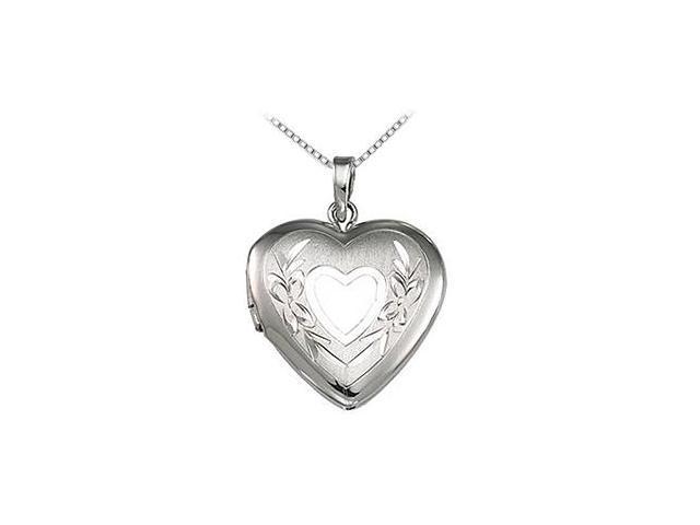 Heart Locket Pendant in Rhodium Plating 925 Sterling Silver 22.25X16.00 MM