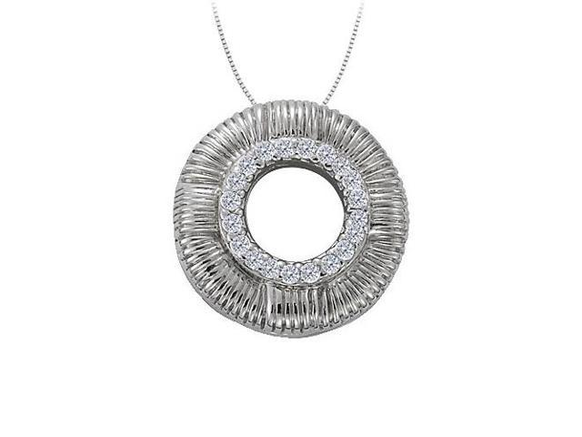 Cubic Zirconia Circle Fashion Pendant in 14K White Gold 0.10 CT TGWJewelry Gift for Women