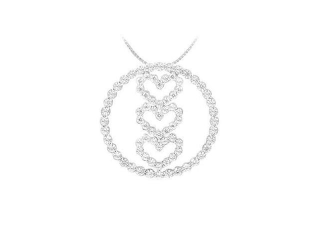 Diamond Circle and Heart Pendant  14K White Gold - 1.00 CT Diamonds
