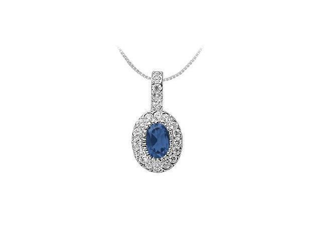 Sapphire and Diamond Pendant  14K White Gold - 1.25 CT TGW