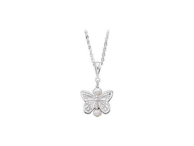 Youth Butterfly and Pearl Pendant  .925 Sterling Silver - 12.38 X 13.50 MM