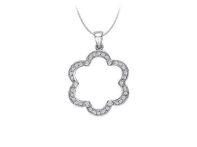 Diamond Flower Shaped Pendant in 14K White Gold 0.50 CT TDWJewelry Gift for Women