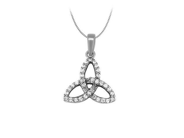Cubic Zirconia Three Petal Pendant in 14K White Gold 0.25 CT TGWJewelry Gift for Women