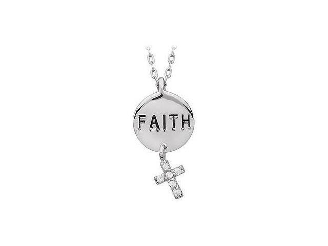 Youth Engraved Faith with Cubic Zirconia Dangle Cross Pendant  .925 Sterling Silver - 21.98 X