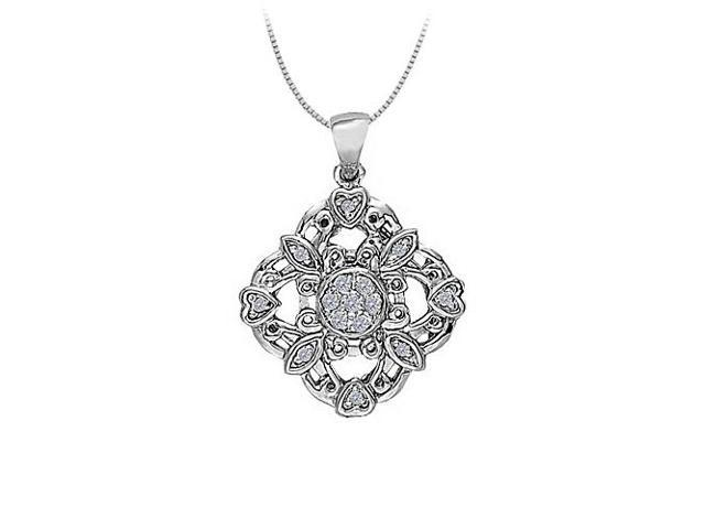 CZ Square shaped pendant with little hearts in Sterling Silver with Sterling Silver Chain