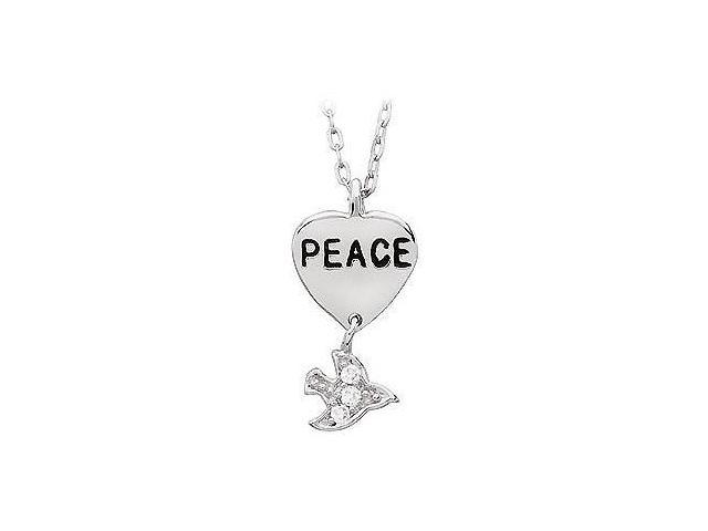 Youth Engraved Peace with Cubic Zirconia Dove Dangle Pendant  .925 Sterling Silver - 19.26 X