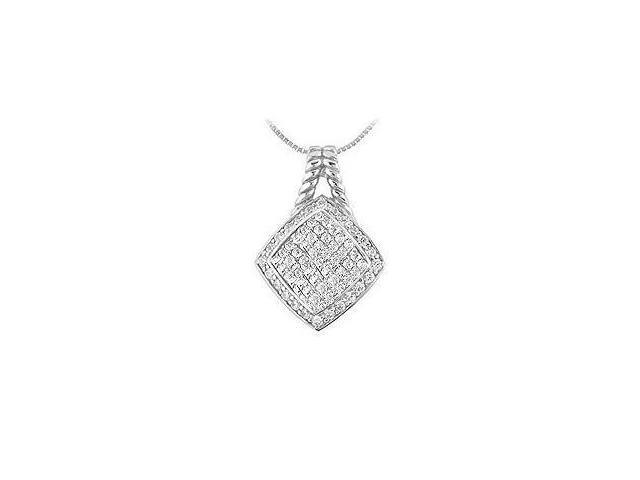 Diamond Square Pendant  14K White Gold - 1.00 CT Diamonds