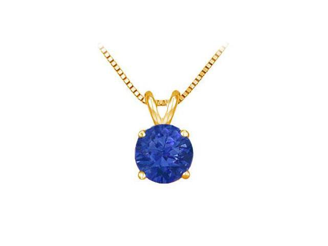 14K Yellow Gold Prong Set Natural Sapphire Solitaire Pendant 1.00 CT TGW