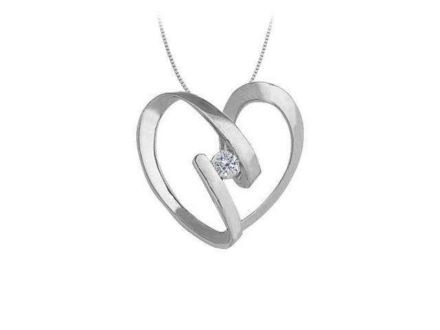 April birthstone Channel Set Cubic Zirconia Heart Pendant in Sterling Silver 0.25 CT TGW