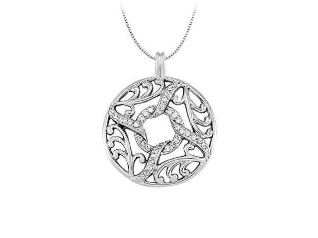 0.25 Carat Total Diamonds in 14K White Gold Fancy Circle Fashion Pendant