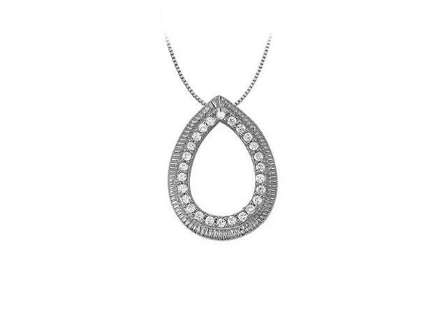 0.25 Carat Teardrop Gemstone Pendant with Cubic Zirconia Sterling Silver with Fine Silver Chain