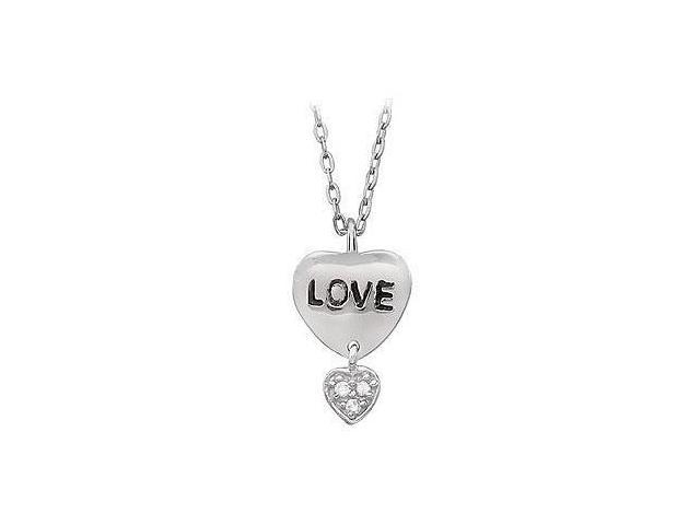 Youth Engraved Love with Cubic Zirconia Heart Dangle Pendant  .925 Sterling Silver - 17.13X11
