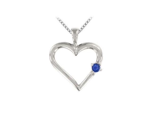 Sapphire Heart Pendant  14K White Gold - 0.05 CT TGW