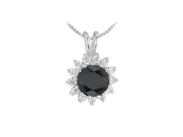 Black and White Diamond Pendant  14K White Gold - 1.00 CT Diamonds