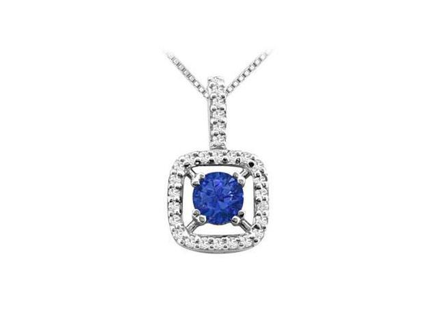 Round Diffuse Sapphire Pendant in 14K White Gold Prong Set with Cubic Zirconia 2.50 Carat TGW