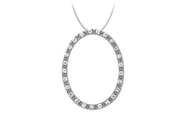 Cubic Zirconia Oval Fashion Pendant in 14K White Gold 0.33 CT TGWPerfect Jewelry Gift for Women