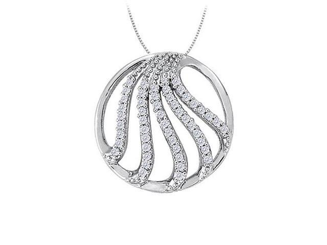 Cubic Zirconia Fancy Circle Fashion Pendant in 14K White Gold 0.50 CT TGWJewelry Gift for Women