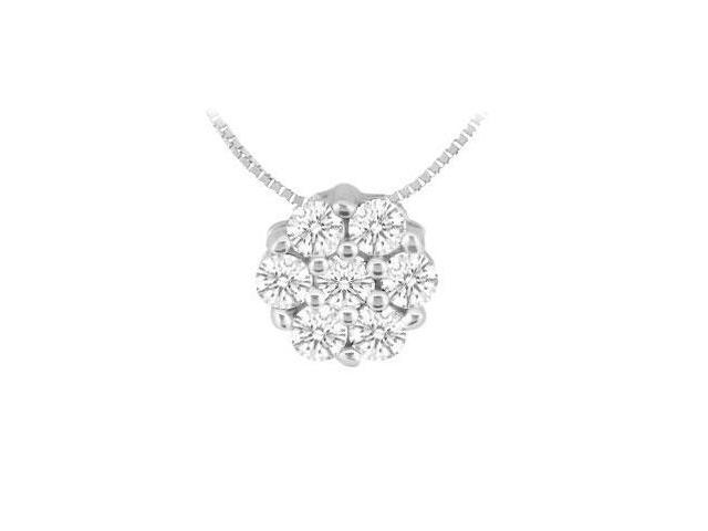 Diamond Flower Pendant  14K White Gold - 0.15 CT Diamonds