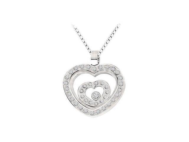 Stainless Steel with Cubic Zirconia Heart Pendant