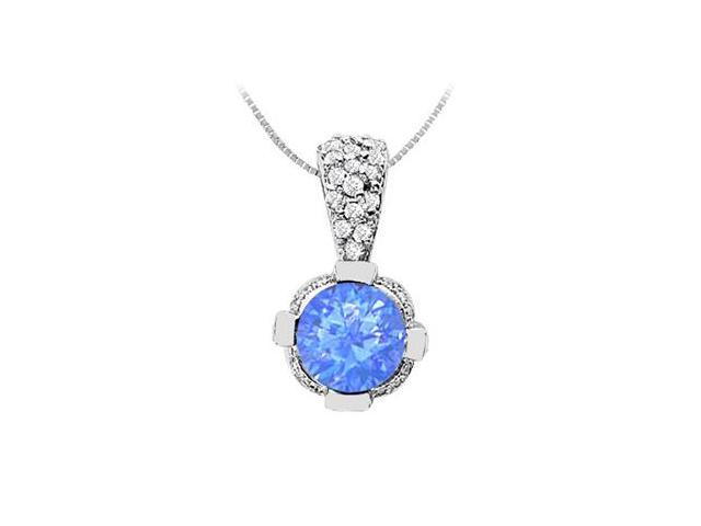 2 Carat Diffuse Sapphire Pendant with Cubic Zirconia in 14K White Gold 2.20 Carat TGW