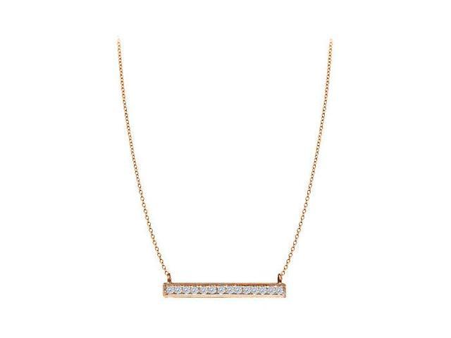 Quarter Carat Prong Set CZ Necklace in 14K Rose Gold Vermeil