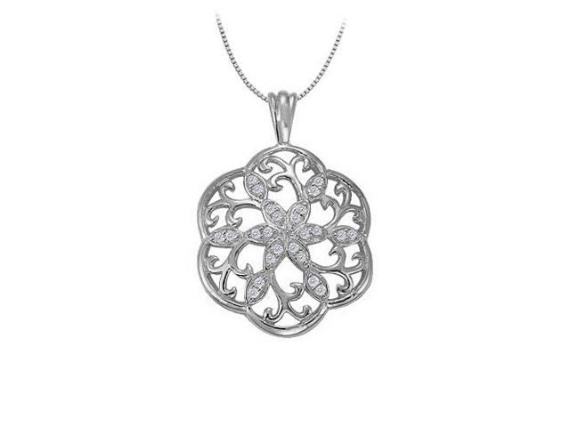 Cubic Zirconia Fancy Circle Fashion Pendant in 14K White Gold 0.25 CT TGWJewelry Gift for Women