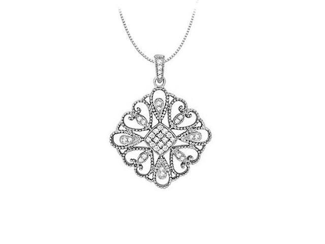 Diamond square shaped pendant in 14K White Gold 0.33 CT TDWPerfect Jewelry Gift for Women