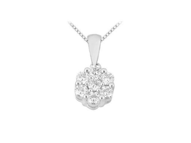 Diamond Flower Pendant  14K White Gold - 0.25 CT Diamonds