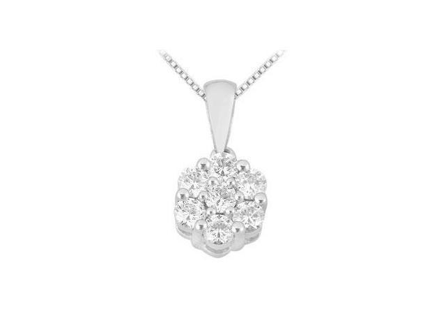 Diamond Flower Pendant  14K White Gold - 0.25 CT Diamonds