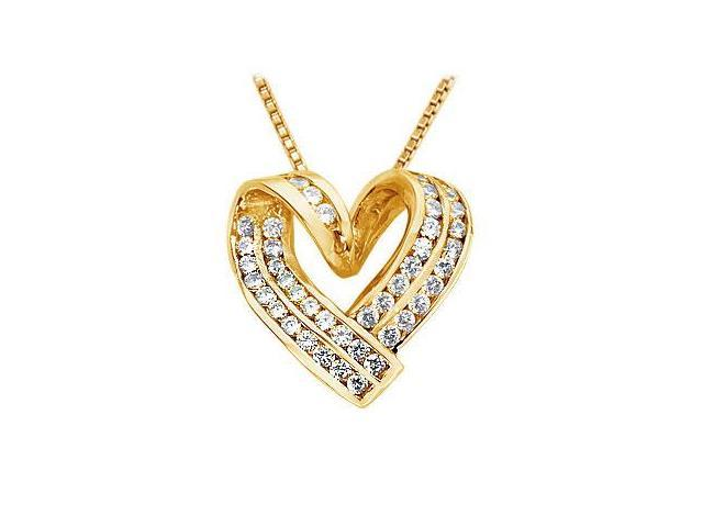 Diamond Heart Pendant  14K Yellow Gold - 1.00 CT Diamonds