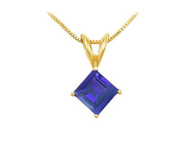 Sapphire Solitaire Pendant  14K Yellow Gold - 1.00 CT TGW