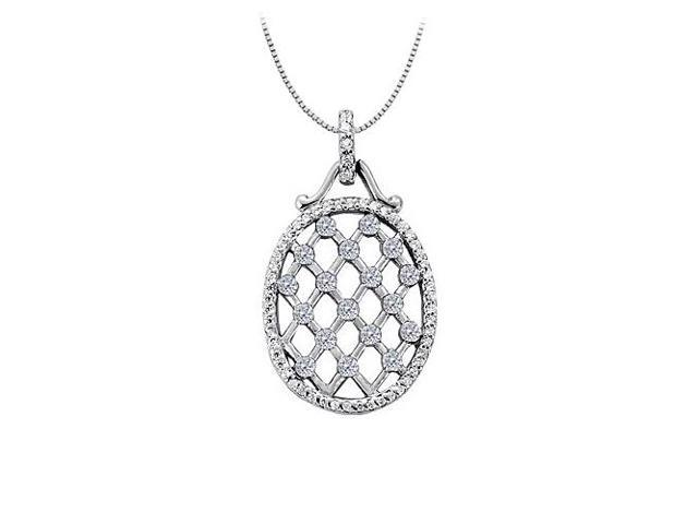 Cubic Zirconia Oval Fashion Pendant in 14K White Gold 0.75 CT TGWPerfect Jewelry Gift for Women